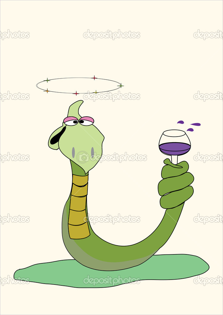 Drunk green snake holding a glass of wine — Stock Vector #4323972