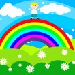 Stock Vector: Cheerful boy stands on a rainbow