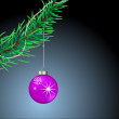 Royalty-Free Stock Vector Image: Branch of a Christmas tree with Christmas balls.