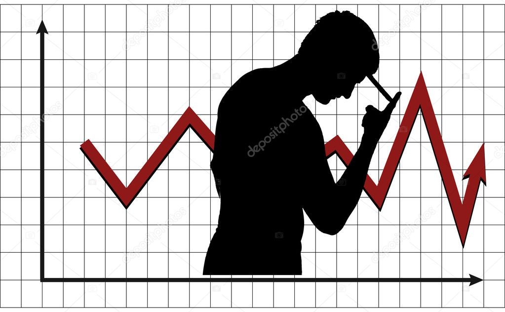 Silhouette of a man pondering the behavior of market — Stock Vector #4151047
