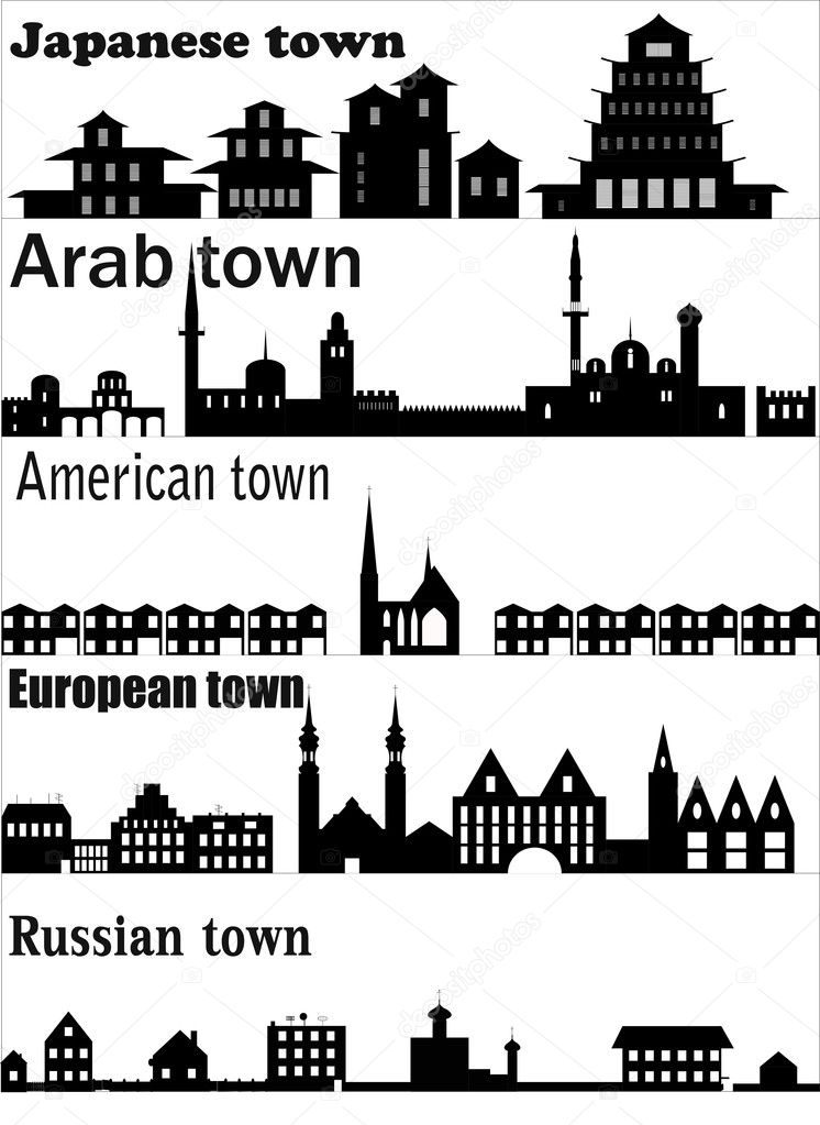 Detailed vector skylines of different towns. EPS 8. — Stock Vector #4236275