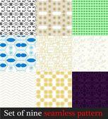 Set nine seamless patterns — Stock Vector