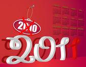 Calendar 2011 red — Stock Vector