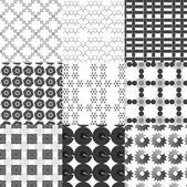 Set of monochrome geometrical patterns — Stock Vector