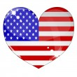 Royalty-Free Stock Imagem Vetorial: Heart with US flag texture isolated