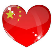 Vector heart with China flag texture — Stock Vector