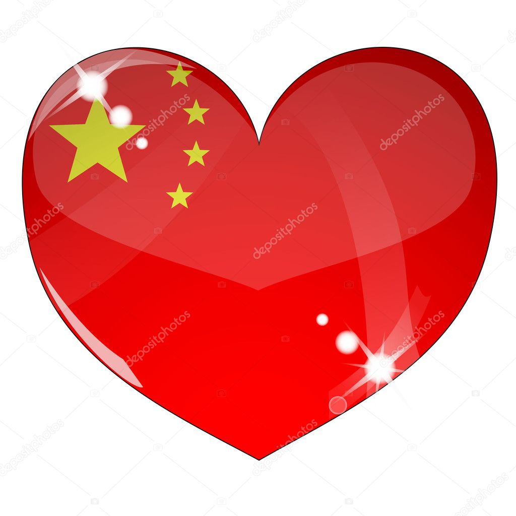 Vector heart with China flag texture isolated on a white background. Flag easy to replace — Stock Vector #4507845