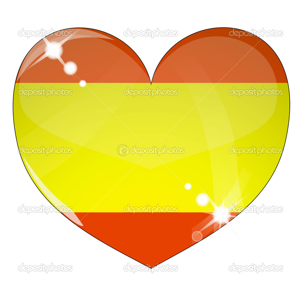 Vector heart with Spain flag texture isolated on a white background. Flag easy to replace — Stock Vector #4507869