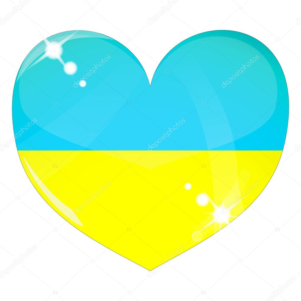 Vector heart with Ukraine flag texture isolated on a white background. Flag easy to replace — Stock Vector #4507895