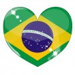 Vector heart with brazil flag texture — Stock Vector