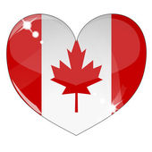 Vector heart with Canada flag texture — Stock Vector
