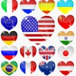Set from the hearts of flags — Stock Vector