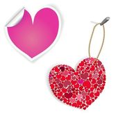 Pink And White Heart Labels — Stock Vector