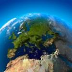 uitzicht op Europa vanaf een hoogte van satellieten — Stockfoto