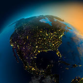 Night view of North America from the satellite — 图库照片