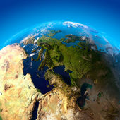 Vue sur l'europe depuis une hauteur de satellites — Photo