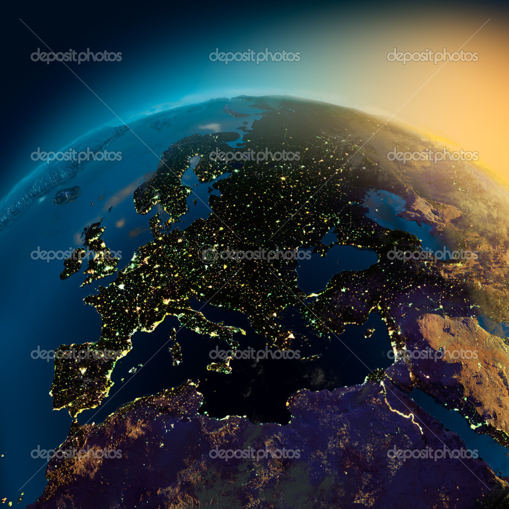 Night view of Europe from the satellite to the glowing lights of towns on the sunrise from the east  Foto Stock #3978212