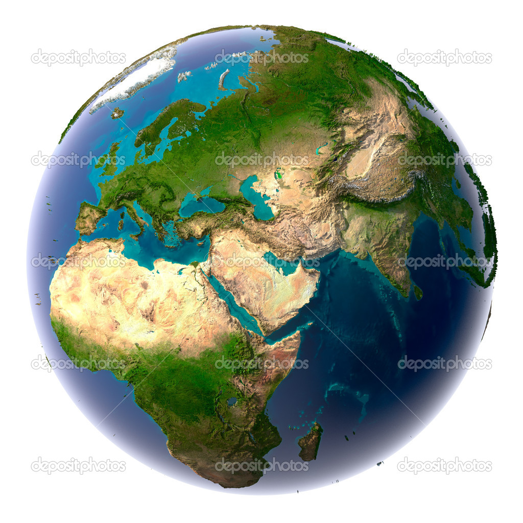 Earth with translucent water in the oceans and the detailed topography of the continents — Stock Photo #4049847