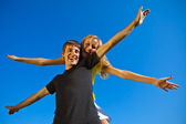 Couples in love have fun outdoors — Stock Photo