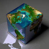 Cubic Earth with translucent ocean — Stock Photo
