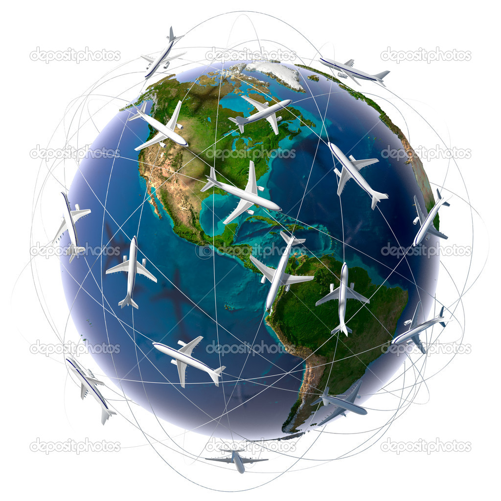 The metaphor of international air travel around the world, travel to anywhere on the planet Earth and the workload of air traffic — Stock Photo #4119472