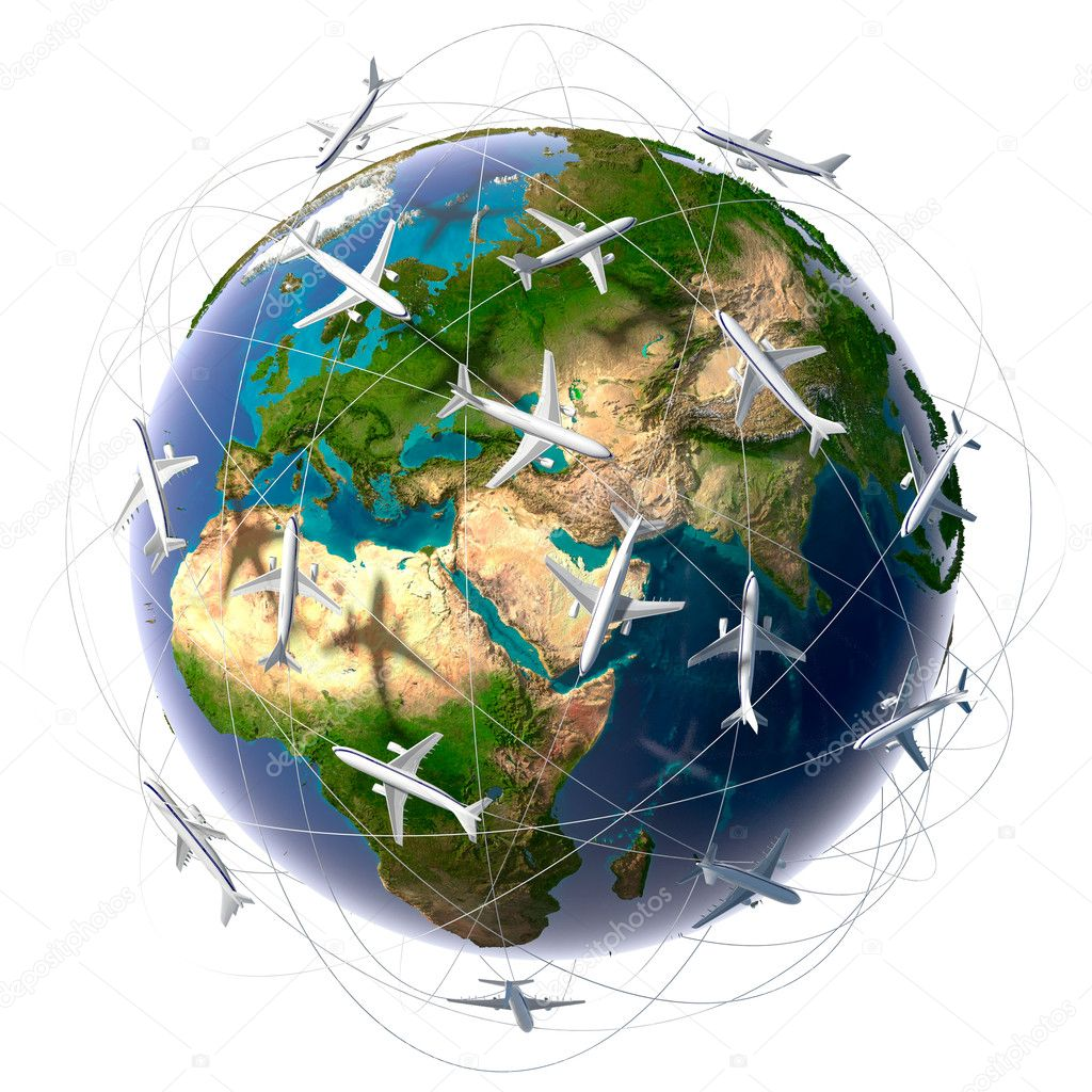 The metaphor of international air travel around the world, travel to anywhere on the planet Earth and the workload of air traffic — Stock Photo #4119512