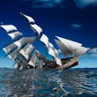 Sailing ship sinking - Stock Photo