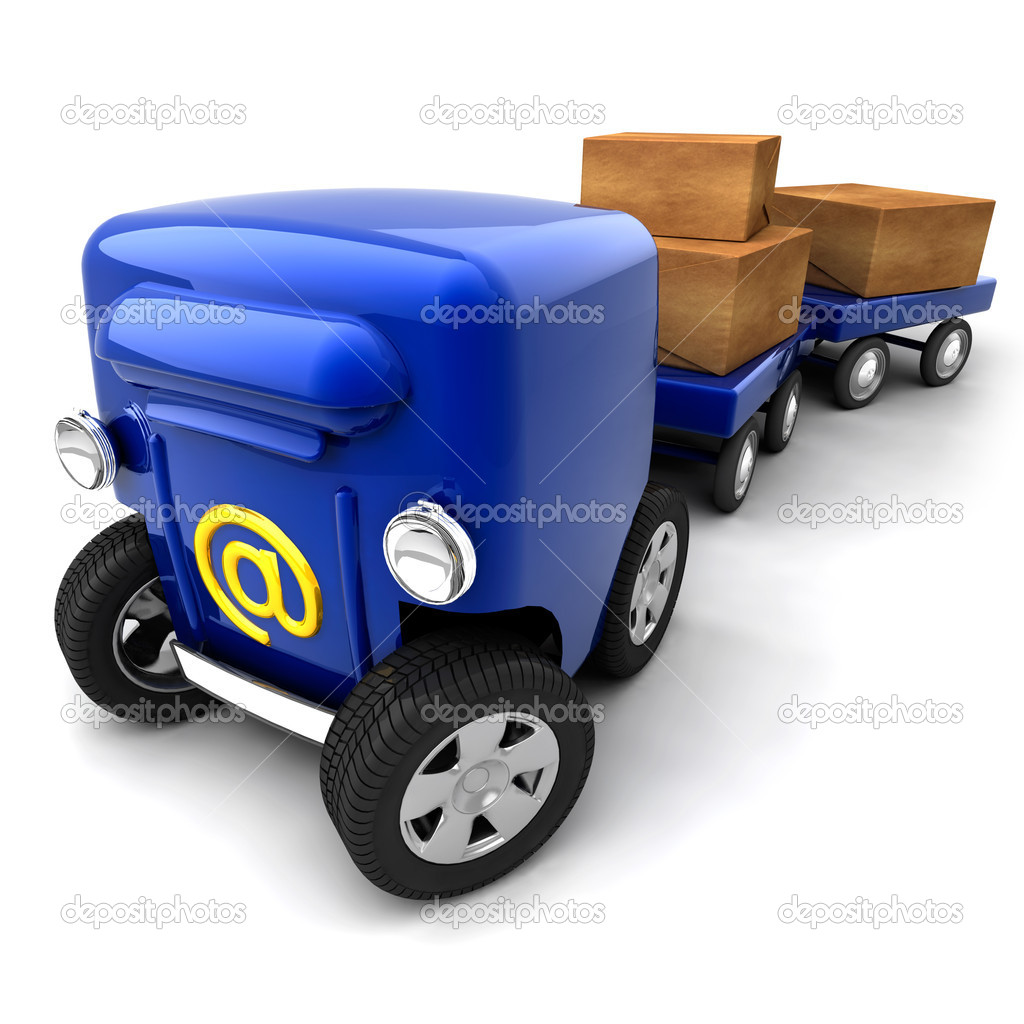 The metaphor of mobile e-mail - the mail box on wheels and bogies for parcels and luggage — Stock Photo #4136064