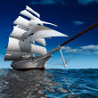 Sailing ship at sea - Stock Photo