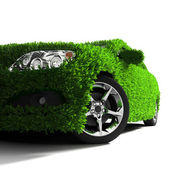 The metaphor of the green eco-friendly car — Stock Photo