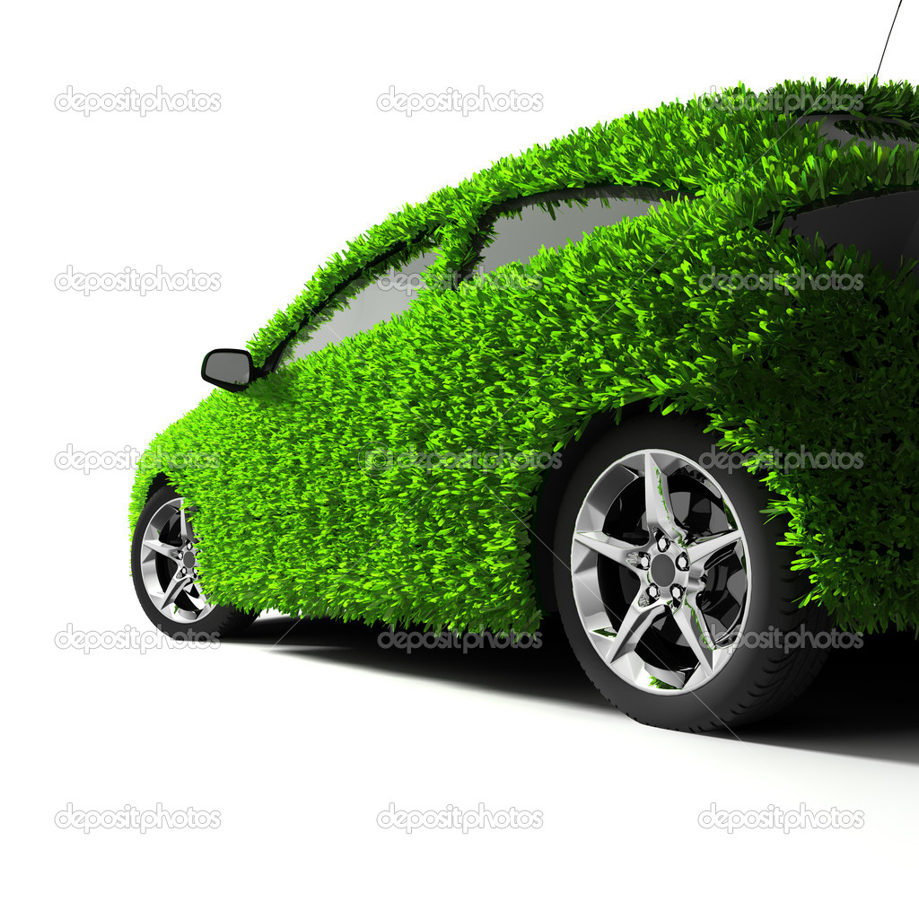 Concept of the eco-friendly car - body surface is covered with a realistic grass  Stock Photo #4151799