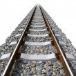Rails lines on concrete sleepers - Stock Photo