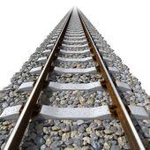 Rails lines on concrete sleepers — Stock Photo