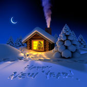 Little house in the woods on New Year's night — Foto de Stock