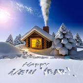 A small wooden house in a fantastic snow forest on the eve of New Year — Foto de Stock