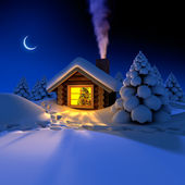 Little house in the woods on New Year's night — Stok fotoğraf