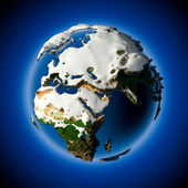 Planet Earth is covered by snow drifts — Stock Photo