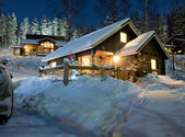 Cottage settlement in the New Year's Eve — Stock Photo