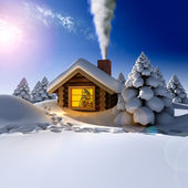 A small wooden house in a fantastic snow forest on the eve of Ne — Foto de Stock