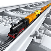 A miniature model of the train rides on big tracks — Stock Photo