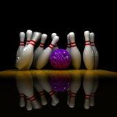 Purple ball does strike! — Stock Photo