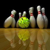 Yellow ball does strike! — Stock Photo