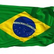 Flag of Brazil, fluttered in the wind - Stock Photo