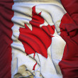 Flag of Canada, fluttering in the breeze, backlit rising sun — Stock Photo