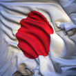 Japanese flag, fluttering in the breeze, backlit rising sun — Stock Photo
