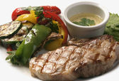 Grilled pork steak with vegetables — Stock Photo