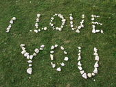 I love you texture written with stones — Stock Photo