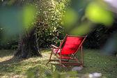 Red deckchair — Stock Photo