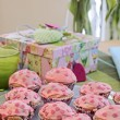 Stock Photo: Pink Heart Muffins