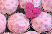Pink Heart Muffins — Stock Photo